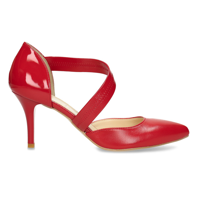 Leather pumps with T-strap bata, red , 724-5904 - 19