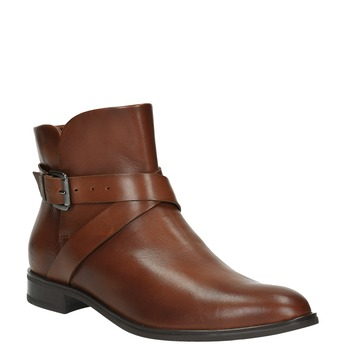 Leather ankle boots with a buckle bata, brown , 594-4602 - 13