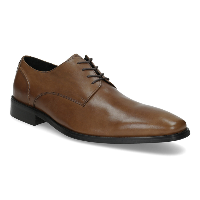 Brown Leather Derby Shoes bata, brown , 826-3646 - 13