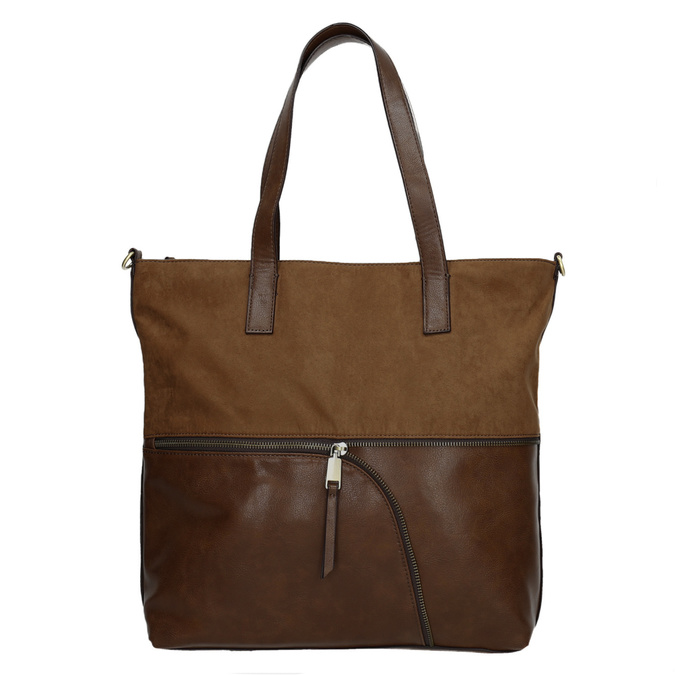 Ladies' handbag with asymmetric zip bata, brown , 961-3847 - 26