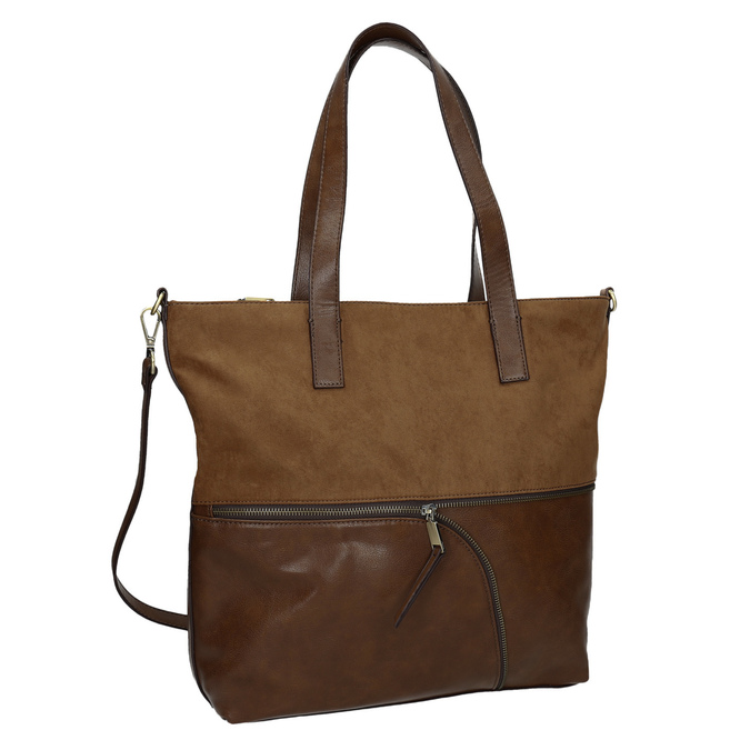 Ladies' handbag with asymmetric zip bata, brown , 961-3847 - 13