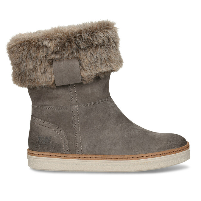 Leather winter shoes with fur weinbrenner, gray , 596-2633 - 19