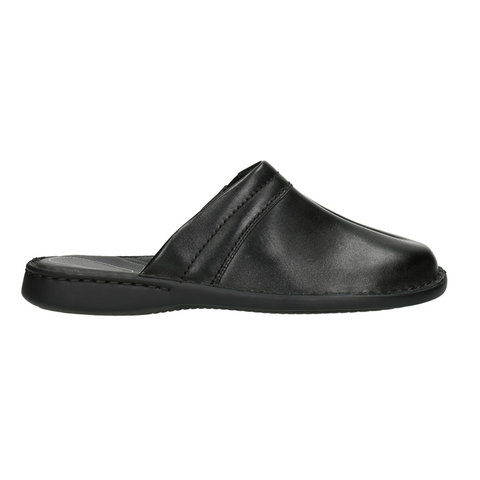 Men's leather slippers comfit, black , 874-6600 - 15