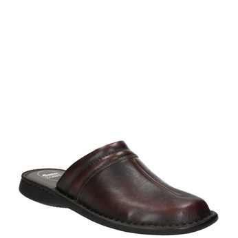 Men's leather slippers comfit, brown , 874-4600 - 13