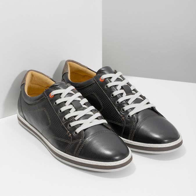 Men's leather sneakers bata, black , 846-6617 - 26