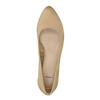 Leather pumps with a low heel bata, beige , 626-8639 - 19