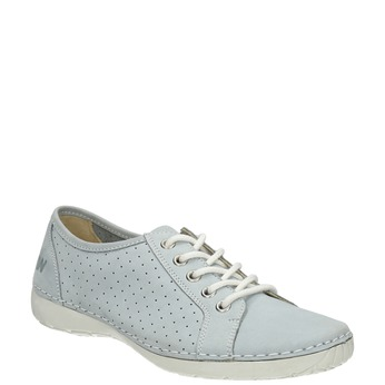 Leather low shoes with perforations weinbrenner, blue , 546-9602 - 13