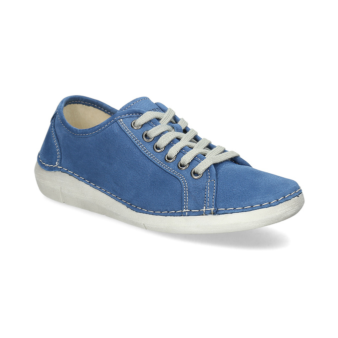 Casual leather low shoes weinbrenner, blue , 546-9603 - 13
