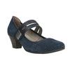 Blue leather pumps width H bata, blue , 623-9600 - 13