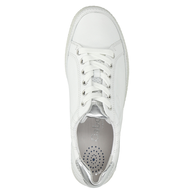 White leather sneakers gabor, white , 626-1204 - 19