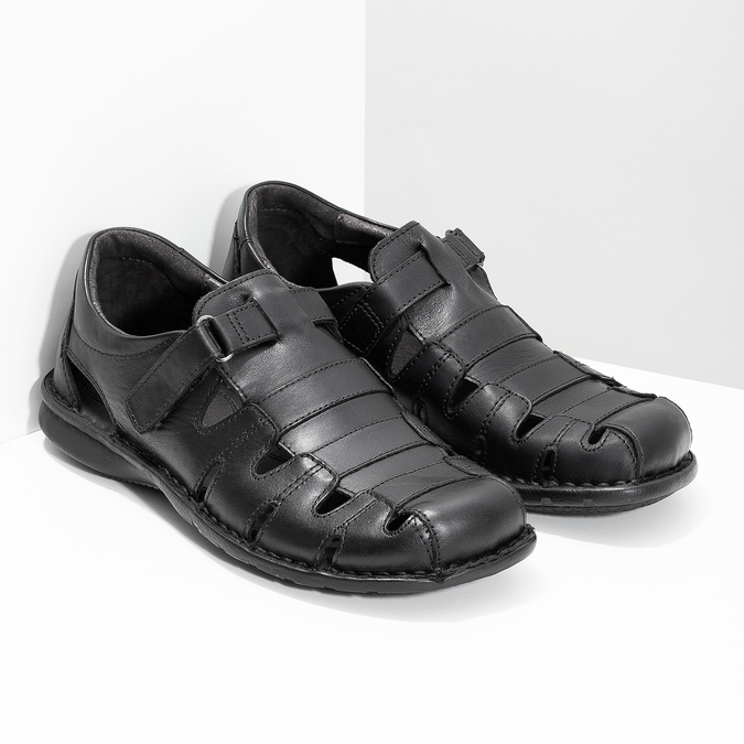 Men's black leather sandals bata, black , 864-6600 - 26