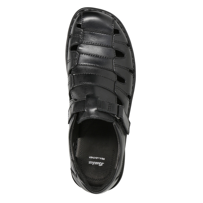 Men's black leather sandals bata, black , 864-6600 - 17