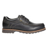 Leather low shoes with toe quilting bata, black , 826-6640 - 15