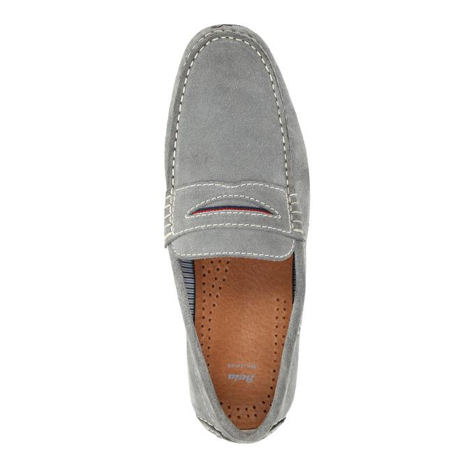 Men's brushed leather moccasins bata, gray , 853-2614 - 19