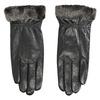 Ladies' leather gloves with fur bata, black , 904-6112 - 26