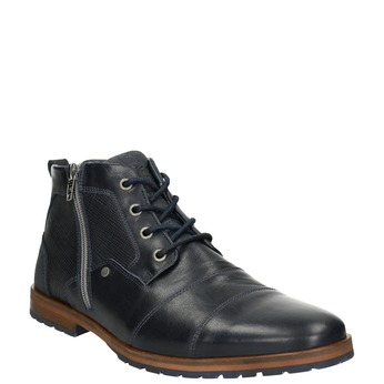 Leather ankle boots with a zipper bata, blue , 826-9911 - 13