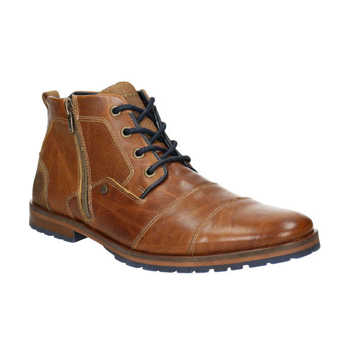 Leather ankle boots with a zipper bata, brown , 826-3911 - 13
