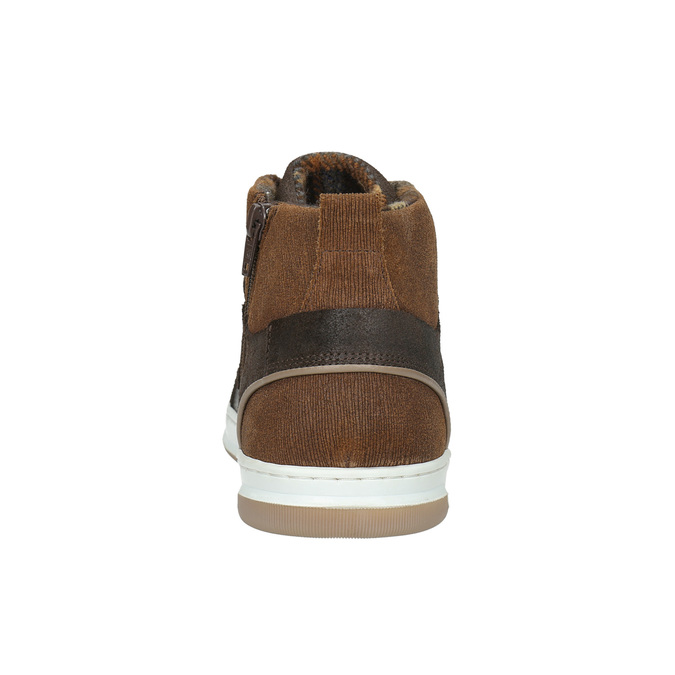 Leather high-top sneakers bata, brown , 846-4640 - 17