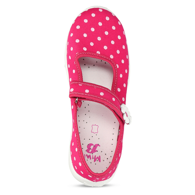 House slippers with polka dots mini-b, pink , 379-5214 - 17
