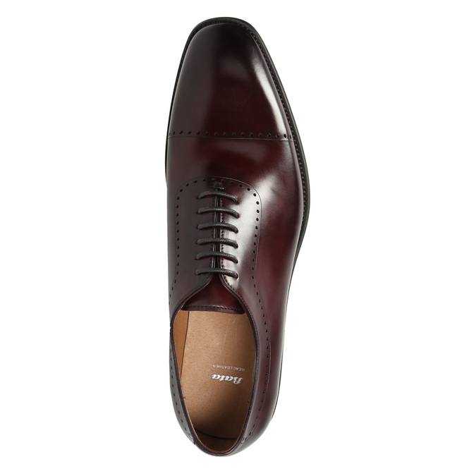 Men's leather Oxford shoes bata, red , 826-5683 - 26