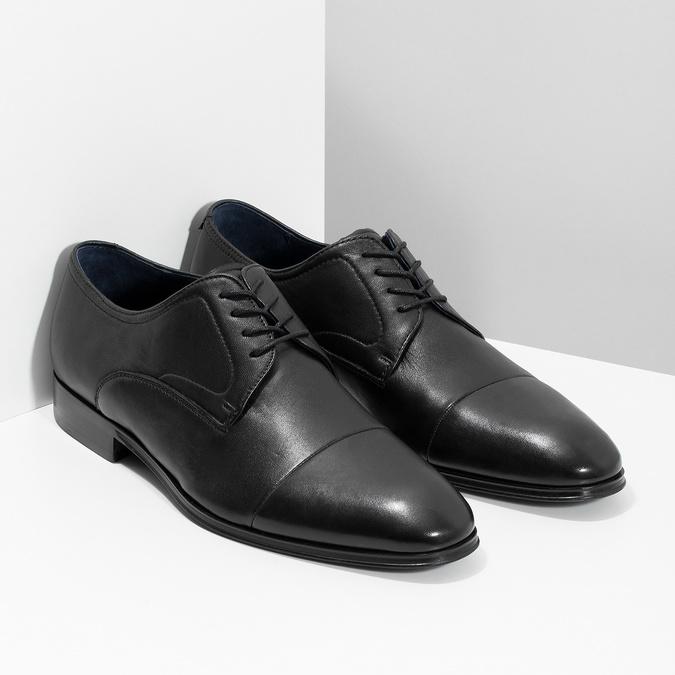 Men's leather Derby shoes bata, black , 824-6406 - 26
