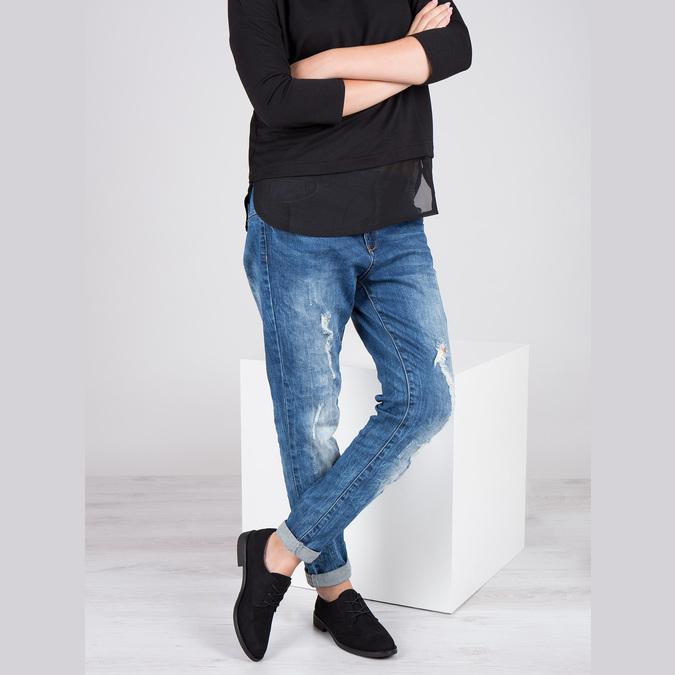 Ladies' shoes with stitching bata, black , 529-6632 - 18