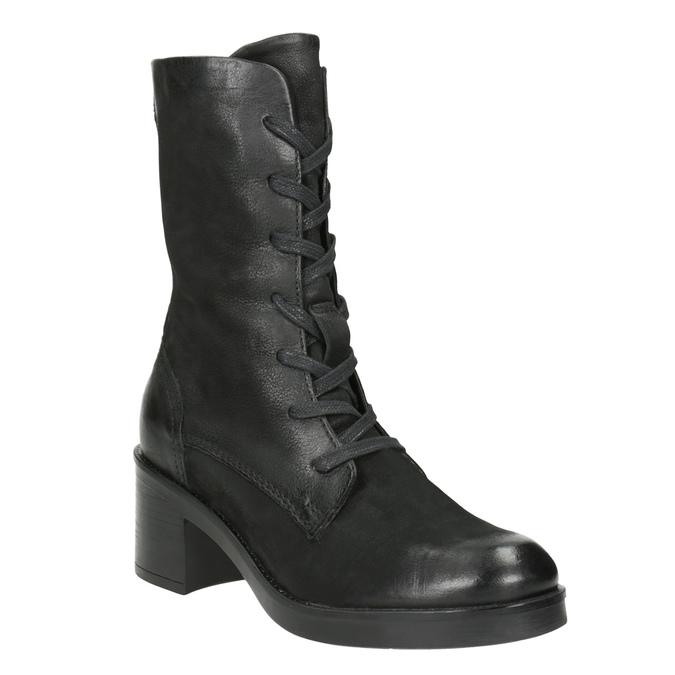 Black Leather Ankle Boots bata, black , 696-6646 - 13