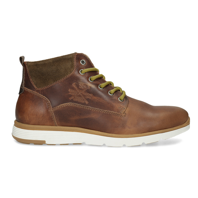 Men's leather ankle boots bata, brown , 846-3645 - 19