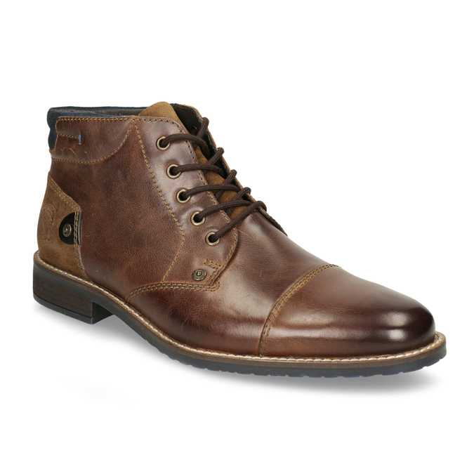 Men's leather ankle boots bata, brown , 826-3611 - 13