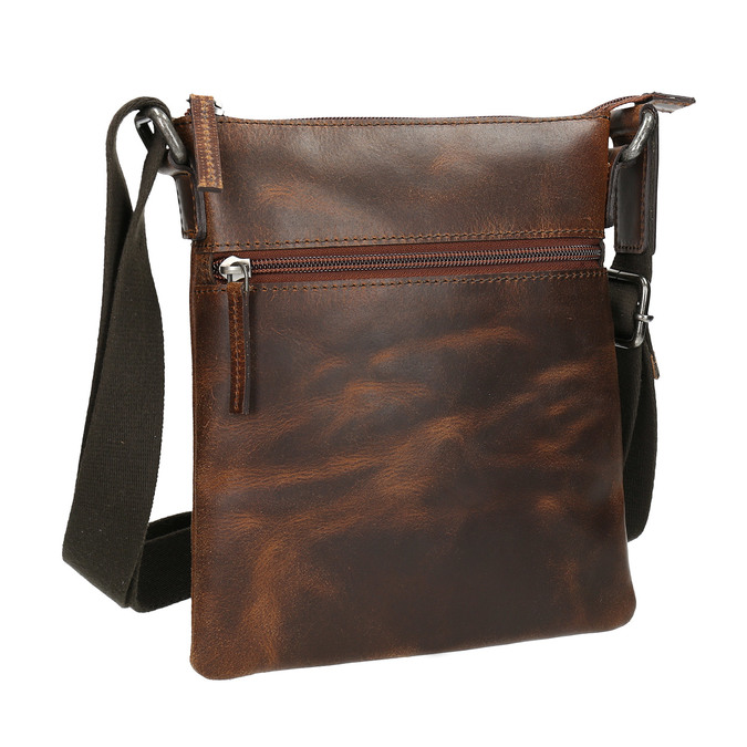 Men's leather crossbody bag bata, brown , 964-4140 - 13