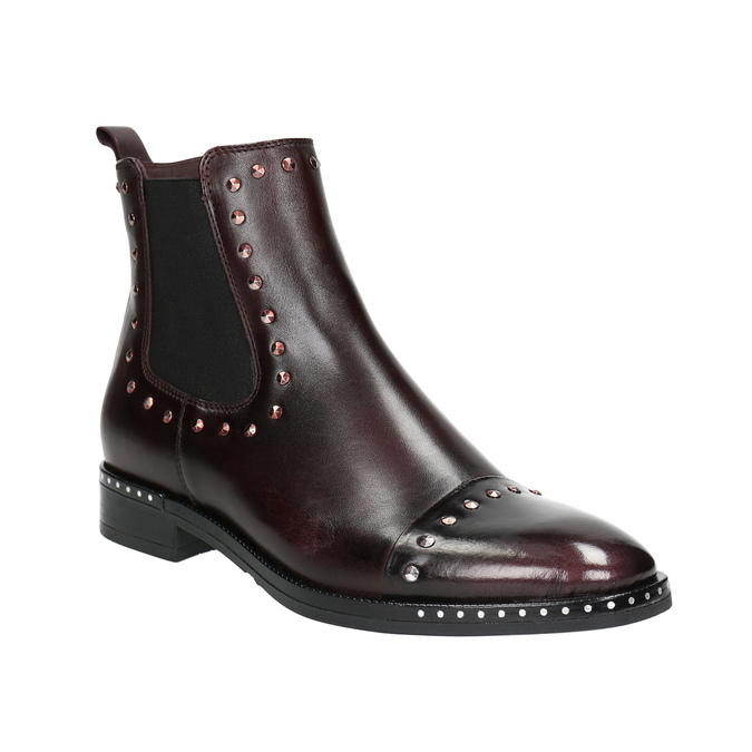 Ladies' leather Chelsea boots bata, red , 596-5679 - 13