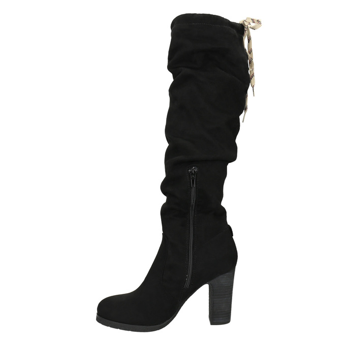 Ladies' black heeled high boots bata, black , 799-6614 - 26