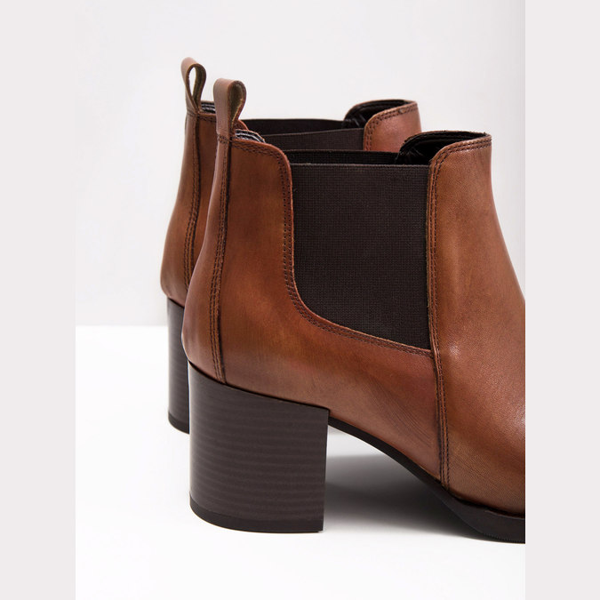 Leather Ankle Boots with Heel bata, brown , 694-4641 - 18