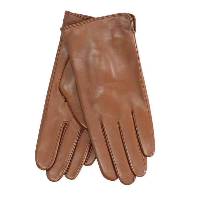 Brown leather gloves bata, brown , 904-3129 - 13