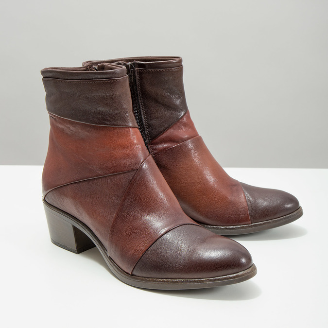 Ladies' leather high ankle boots bata, brown , 696-4653 - 18