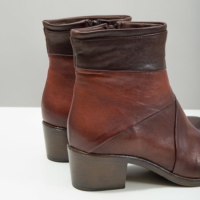 Ladies' leather high ankle boots bata, brown , 696-4653 - 14