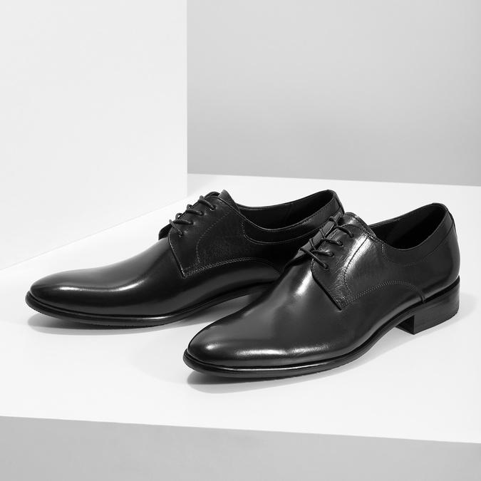 Men's leather Derby shoes bata, black , 824-6233 - 16