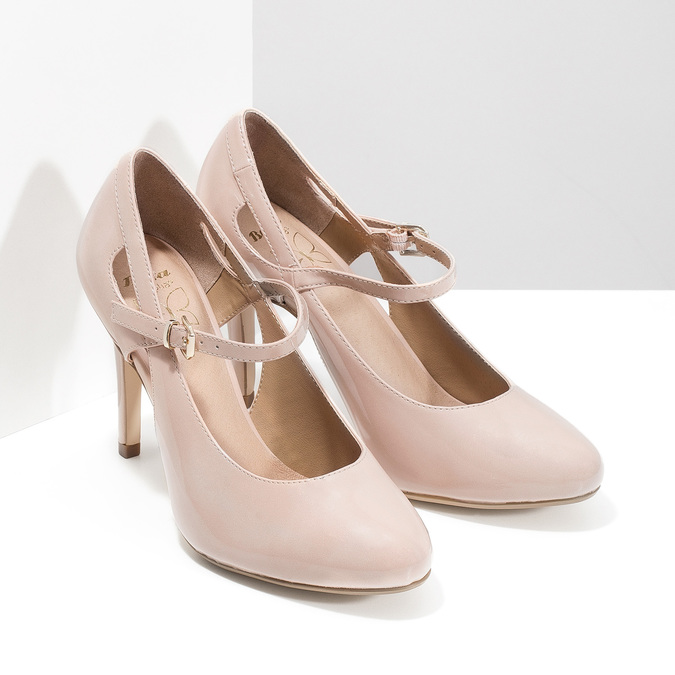 Pinkish cream-colored pumps with cut-outs insolia, beige , 721-8614 - 26