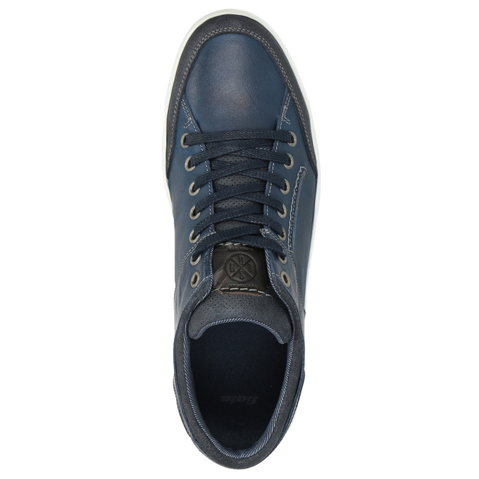 Blue leather sneakers bata, blue , 846-9927 - 15