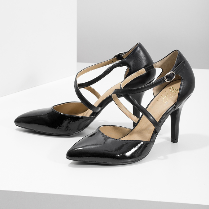 Pumps with crossed straps insolia, black , 721-6617 - 16
