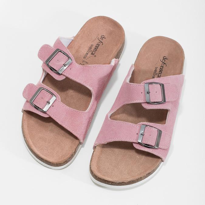 Ladies' leather sandals de-fonseca, pink , 573-5621 - 16