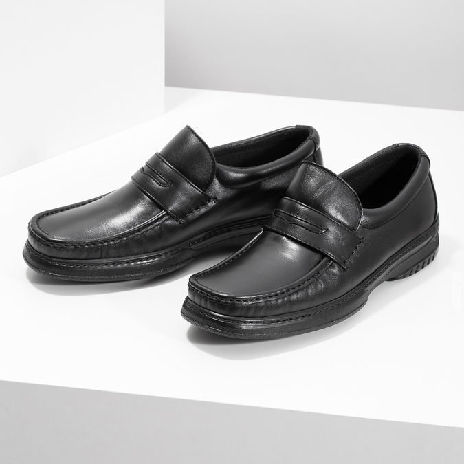 Men's leather moccasins with stitching pinosos, black , 814-6624 - 16