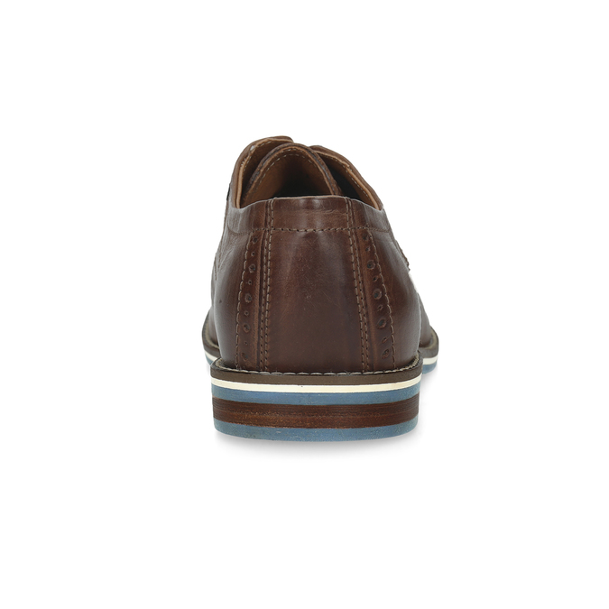 Brown leather shoes with striped sole bata, brown , 826-4790 - 15