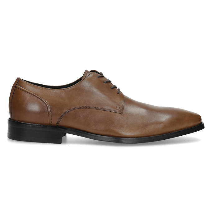 Brown Leather Derby Shoes bata, brown , 826-3646 - 19