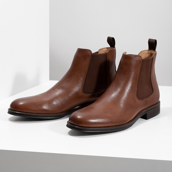 Brown leather Chelsea Boots bata, brown , 896-3400 - 16